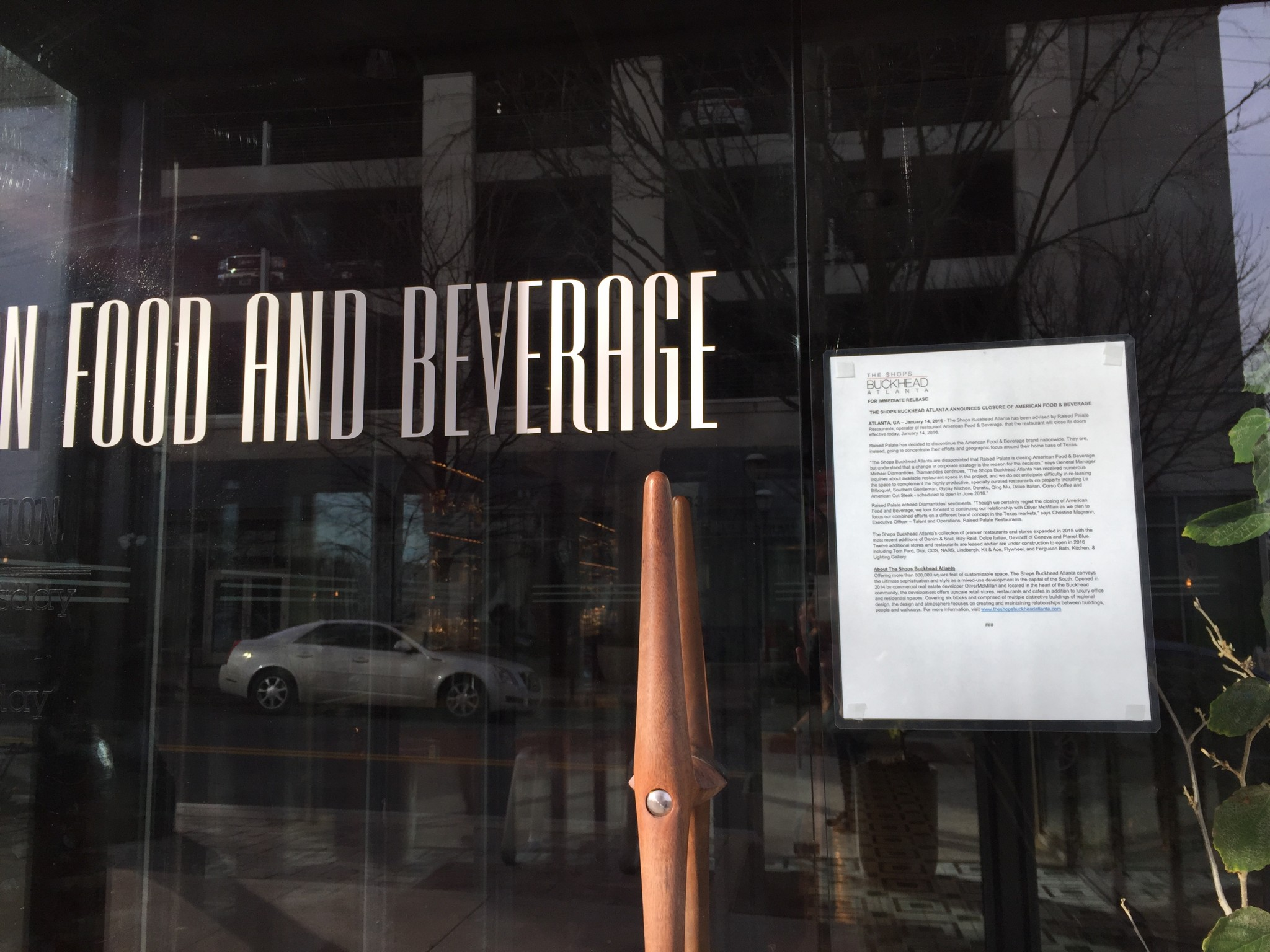 Thursday's press release on the door of American Food & Beverage.