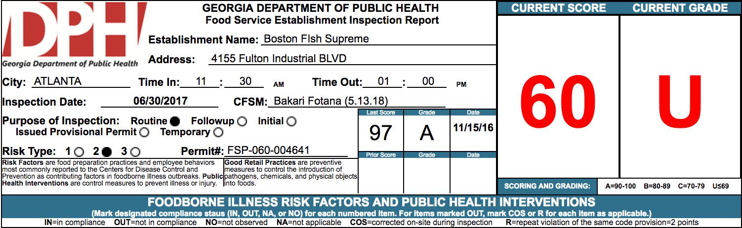 Atlanta 39 s june 2017 failed restaurant health inspections for Boston fish supreme menu