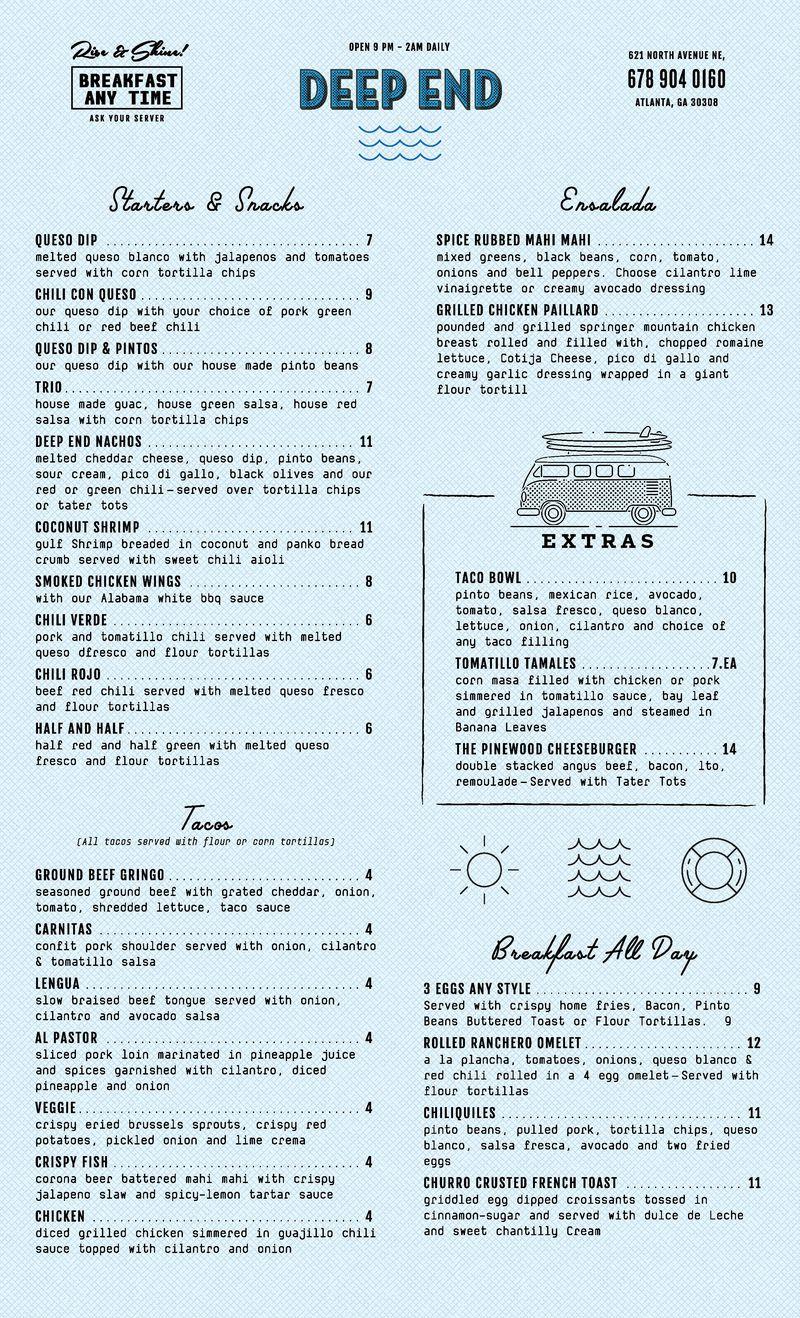 Deep End menu
