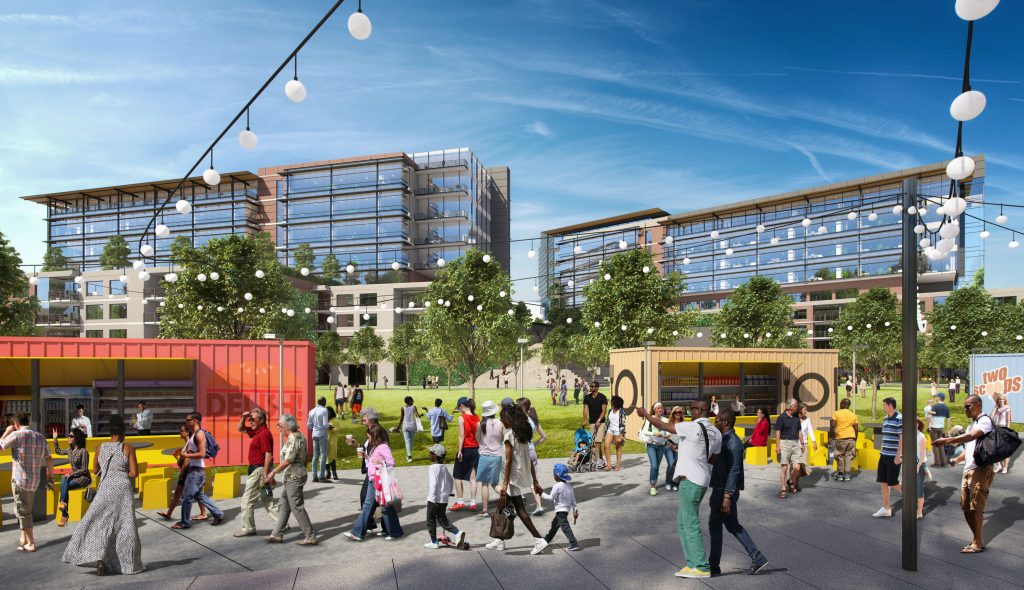 Food options and community green | Photo: Quarry Yards