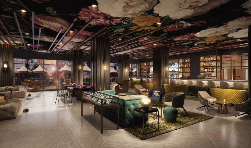W Atlanta Midtown Hotel Living Room Rendering