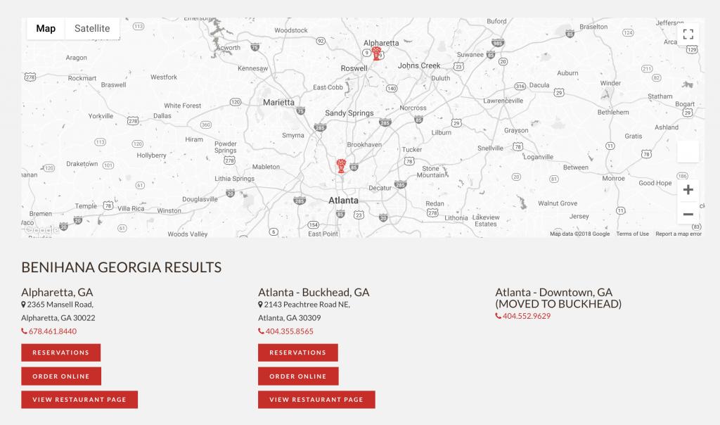 Benihana Downtown Atlanta Closed Web Update