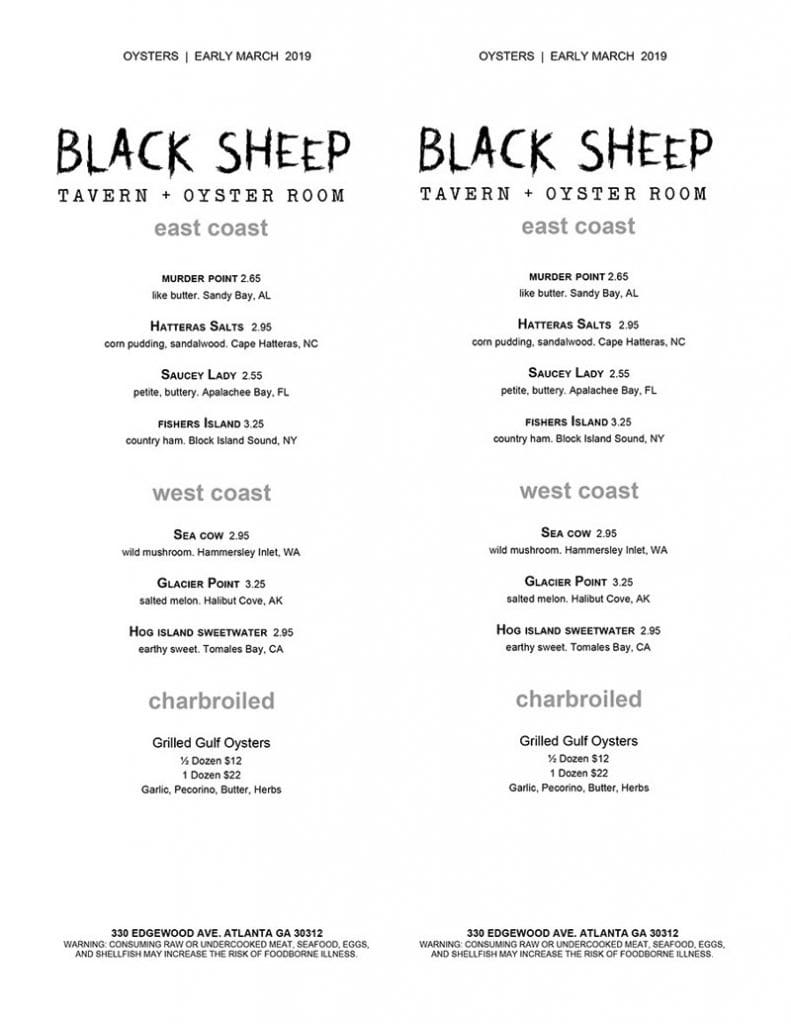 Black Sheep Tavern Menu 2
