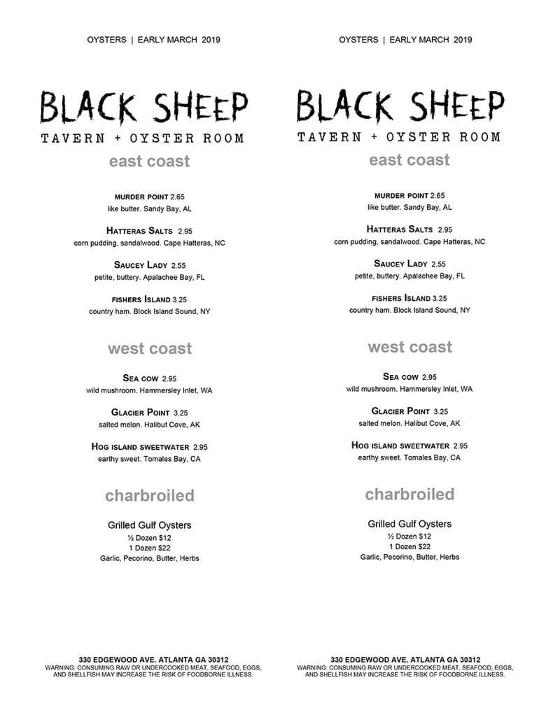 Black Sheep Tavern Menu 2