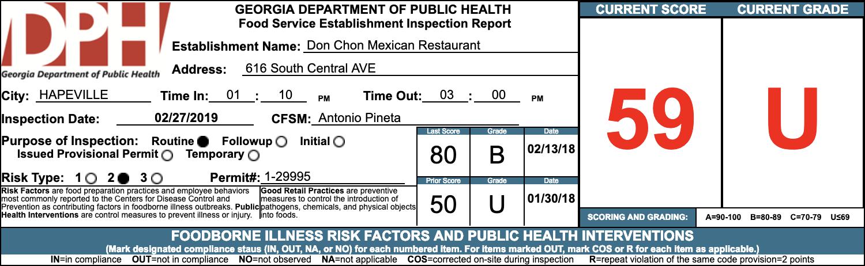 Don Chon Mexican Restaurant - Failed Atlanta Health Inspection