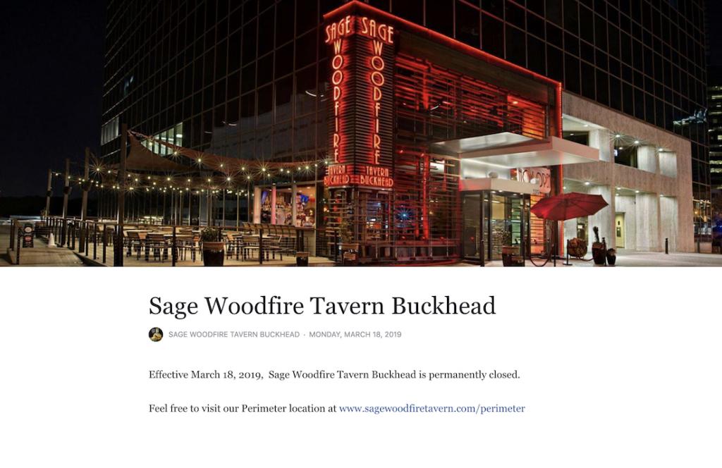 Sage Woodfire Tavern Buckhead Closed