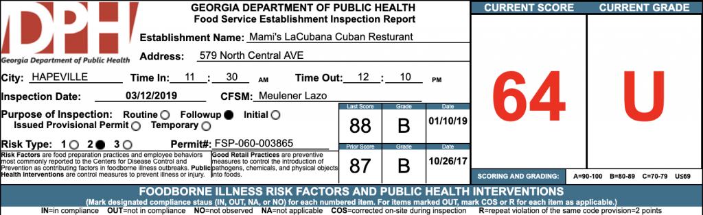 Mami's LaCubana Cuban Resturant - Failed Atlanta Restaurant Health Inspection