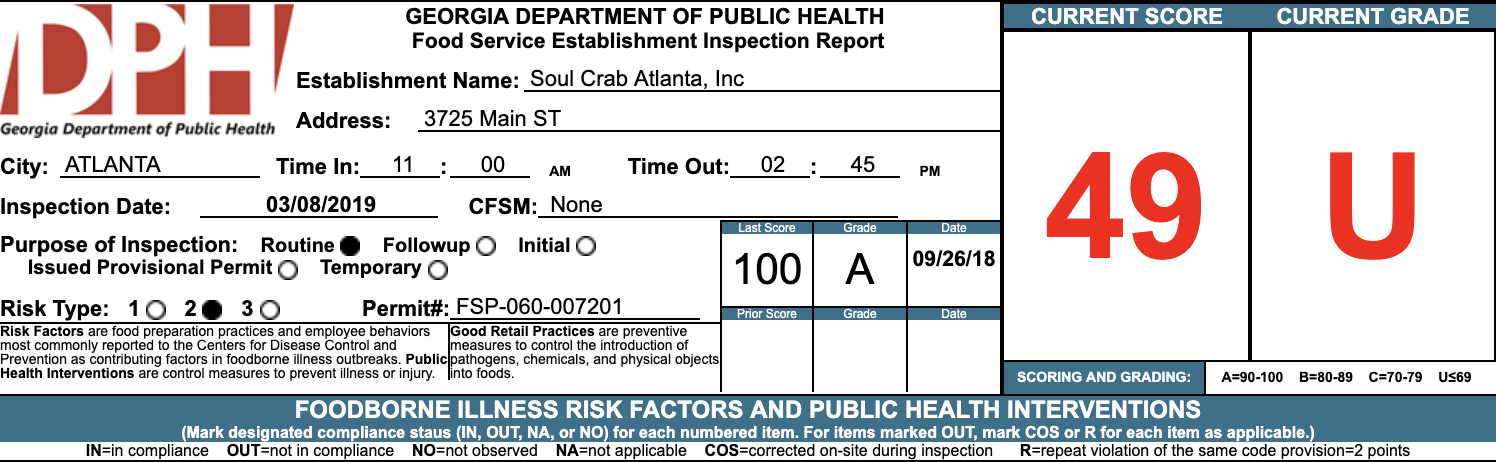 Soul Crab - Failed Atlanta Restaurant Health Inspection