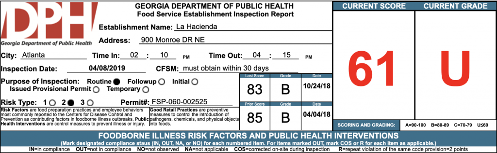 La Hacienda - Failed Health Inspections - April 2019